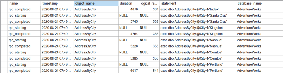 Data showing a filter on stored procedure name